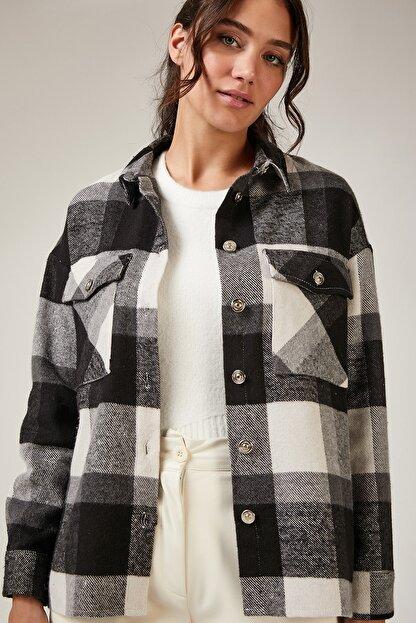 Happiness İst. Kadın Siyah Kareli Yünlü Ceket Gömlek DD00744