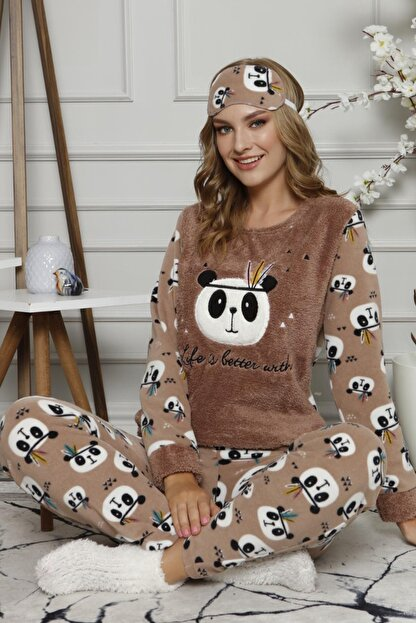 Pijamaevi Life Panda Desenli Kadın Peluş Pijama Takımı