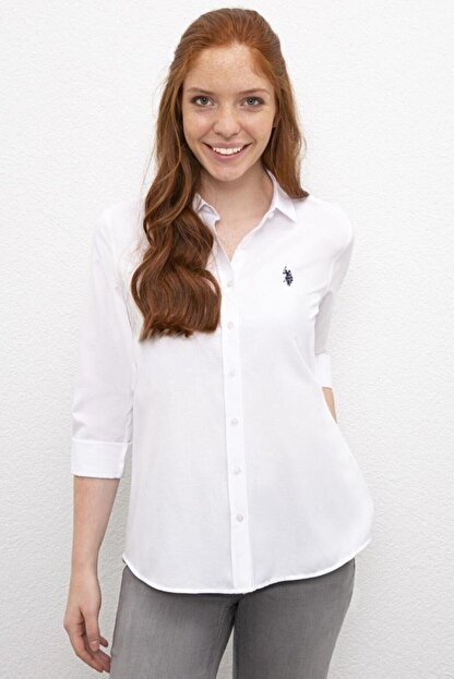 US Polo Assn Kadın Beyaz Gömlek