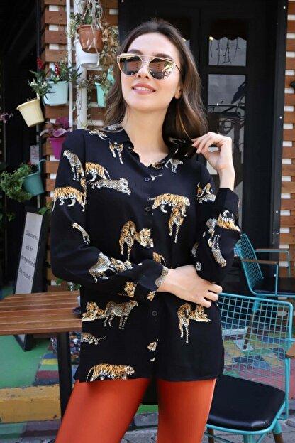 RENNKLİ Kadın Siyah Kaplan Desenli Gömlek