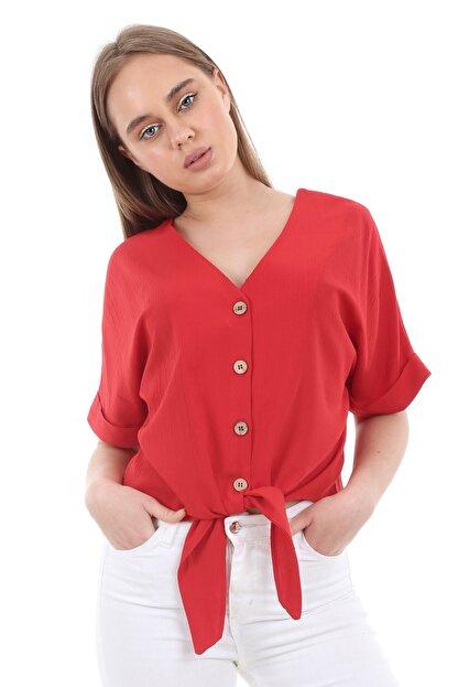 Bigdart Kadın Kırmızı Tahta Düğme Bağlamalı Bluz 3679bgd19_006