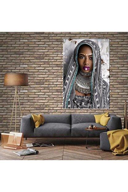 GENC DIJITAL BASKI Eşarplı Afrikalı Kadın Kanvas Tablo 50x70