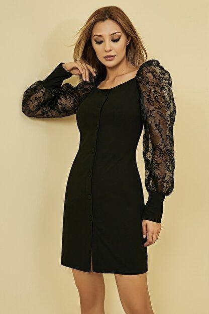 Sateen Kadın Siyah Düğme Detay Organze Balon Kol Elbise