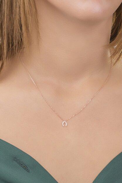 Diversity Jewelry Kadın Gümüş Zirkon Taşlı Rose Şans Model Kolye