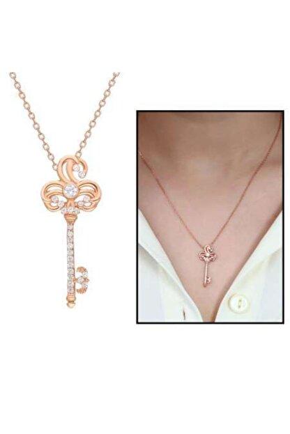 Online Hediye Sepeti Beyaz Zirkon Taşlı Anahtar Tasarım 925 Ayar Gümüş Bayan Kolye