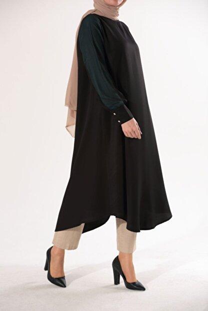 Ekrumoda Kadın Siyah Kolu Tüllü Tunik