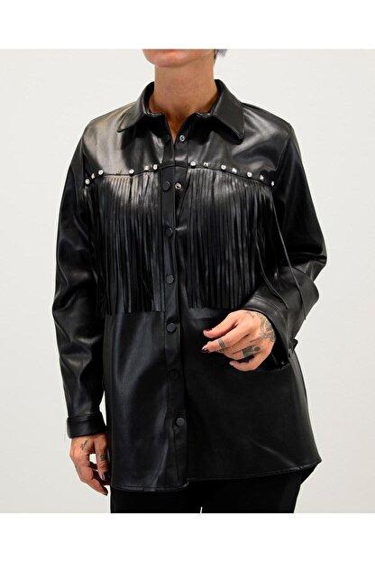 Shoppingdimoda Kadın Siyah Püskül Taşlı Detay Deri Gömlek