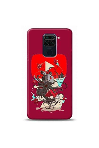 Kılıf Madeni Xiaomi Redmi Note 9 Youtube Logosu Mor Koleksiyon Telefon Kılıfı Ymtrklf171