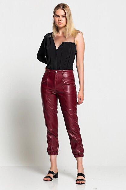 TEREZIE Kadın Bordo Yüksek Bel Paça Detaylı Deri Pantolon