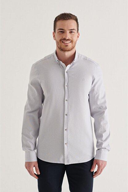 Avva Erkek Gri Düz Düğmeli Yaka Regular Fit Gömlek A11y2026