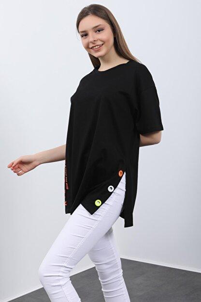 Hepsi Kıyafet Kadın Siyah Baskılı Kuş Gözlü T-shirt