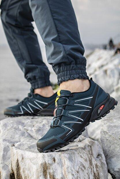 Ayakkabix Erkek Siyah Petrol Ferrani Günlük Spor Ayakkabı