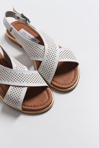 Niloshka Kadın Beyaz Lazerli Sandalet
