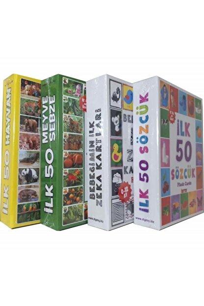 Diytoy 4'lü Eğitim Seti - Ilk 50 Sözcük, Meyveler, Hayvanlar Ve Bebeğimin Zeka Kartları