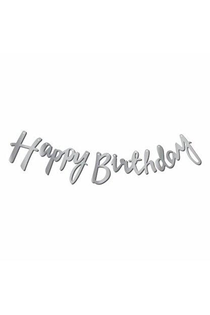 Aşkın Parti Evi Gümüş Happy Birthday Kaligrafi Banner