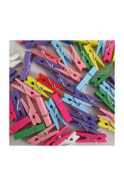 AKILLICA 100 Adet Mini Mandal-minik Mandal-dekoratif Süsleme-renkli Mini Ahşap Mandal