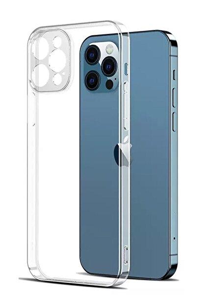 Go Aksesuar Apple Iphone 12 Pro (6.1) Darbe Önleyici Kamera Korumalı Şeffaf Silikon Kılıf