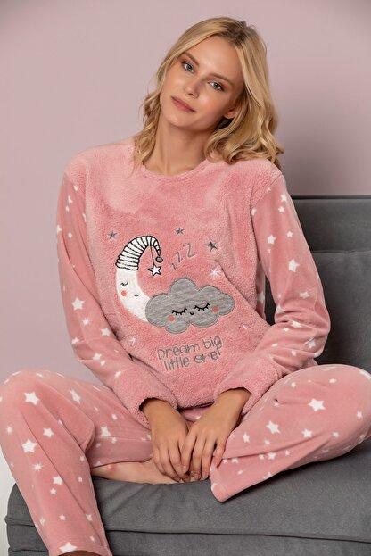 ELİTOL Kadın Pudra Welsoft Pijama Takim
