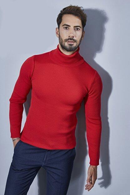 Sateen Men Erkek Kırmızı Tam Balıkçı Triko 20KTR335E100