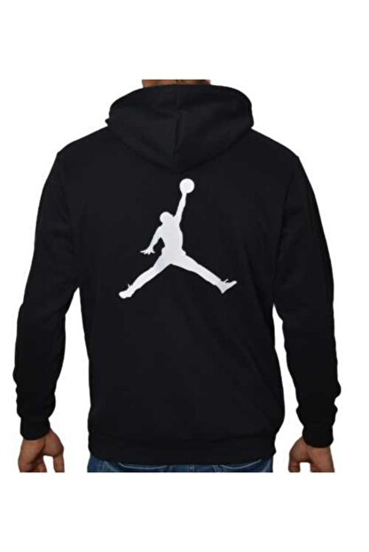 YOUWINNER Erkek Siyah Kapüşonlu İplik Air Jordan Baskılı Tshirt