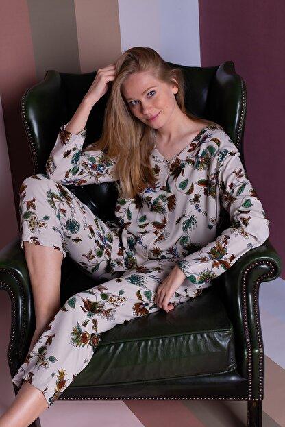 Hays Kadın Bej Büyük Beden Vegan Pijama Takımı