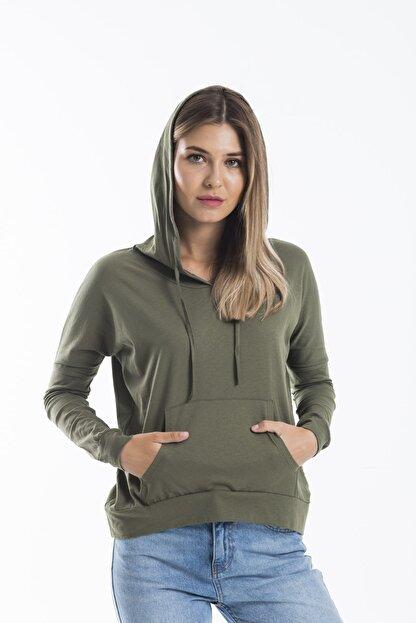 TAKE7 Kadın Haki Kapüşonlu Uzun Kollu Kanguru Cepli Basic Örme T-shirt