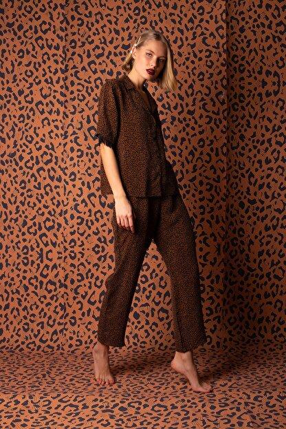 Hays Kadın Kahverengi Vegan Cupro Püskül Detaylı Pijama Takımı