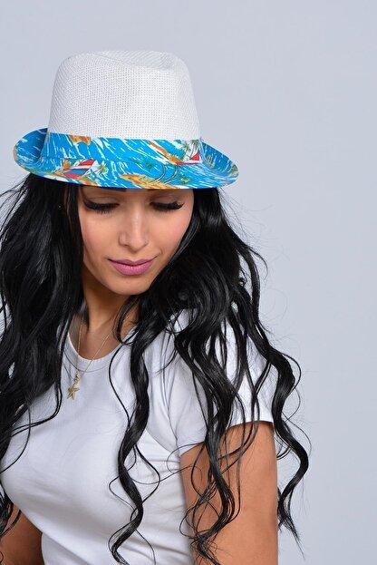 Mossta Unisex Beyaz Yelken Şeritli Hasır Şapka