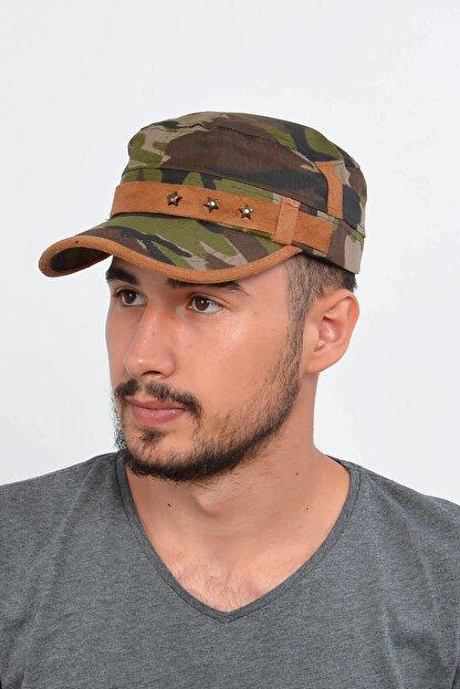 Mossta Erkek Haki Yeşil Kamuflaj Şapka