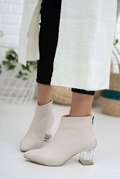 Moda Değirmeni Bej Cilt Kadın Şeffaf Topuk Bot Md1050-116-0001