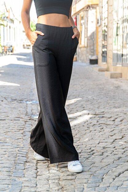 Güneşkızı Kadın Siyah Keten Beli Lastikli Salaş Pantolon GK-BST2933