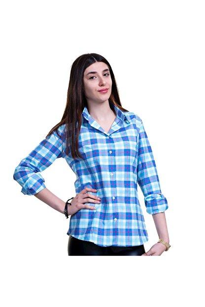 Exve Exclusive Kadın Mavi Kırmızı Ekoseli Pamuk Gömlek