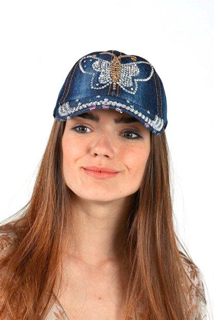 Mossta Kadın Lacivert Kelebek Taşlı Kot Şapka