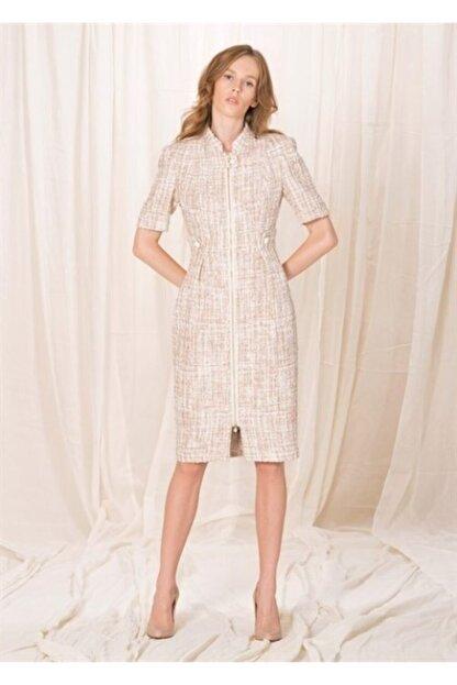 BİRELİN Kadın Pembe Yarım Kollu Tüvit Elbise
