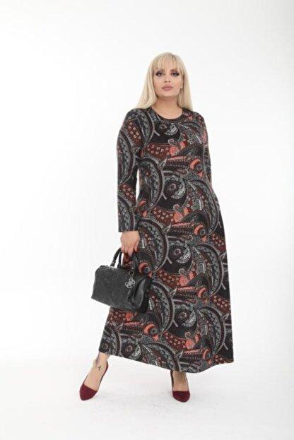 Şirin Butik Kadın Büyük Beden Yaka Pervazlı Elbise
