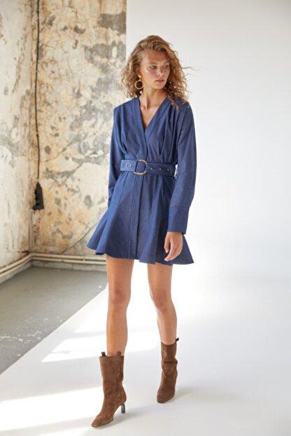 Urban Muse Kadın Mavi Kemerli Denim Elbise