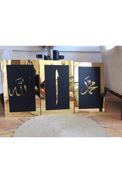 ST Design Mdf Üzeri Aynalı Pleksi Allah Muhammed Elif Tablo/tablo Seti Siyah-gold