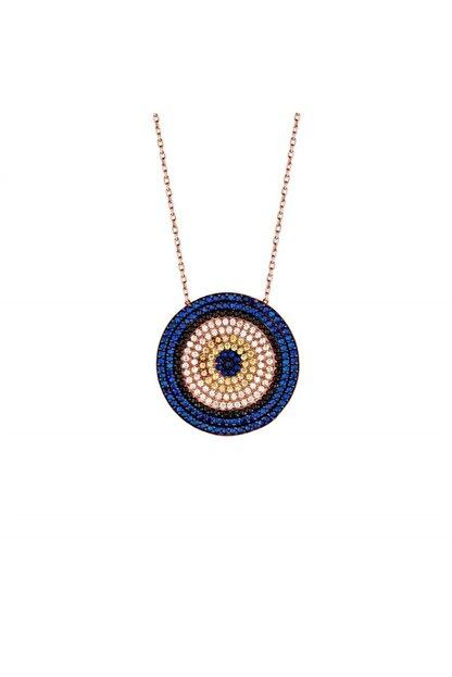 Afrodit Silver Kadın Rose Nazarlı Tasarım Gümüş Kolye