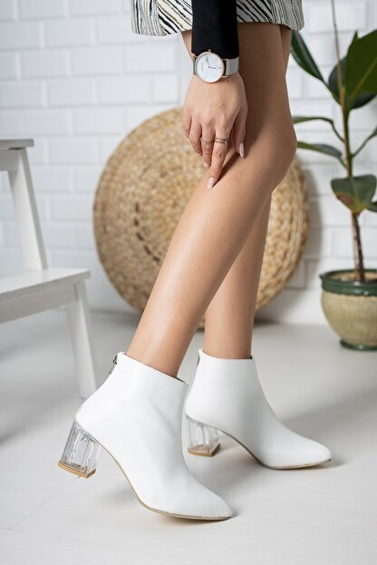 Moda Değirmeni Beyaz Cilt Kadın Şeffaf Topuk Bot Md1050-116-0001
