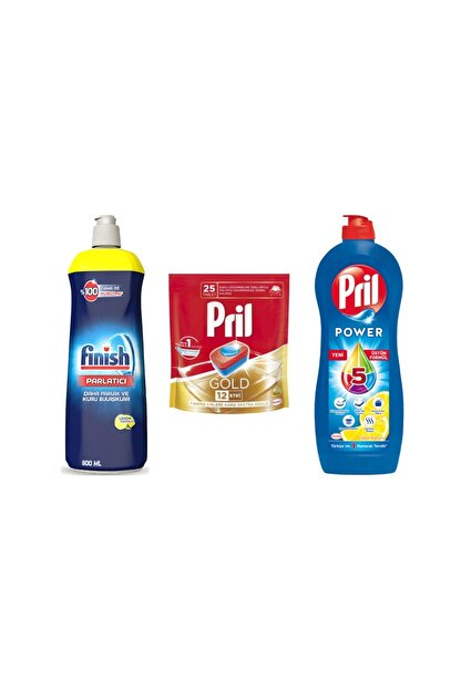 Pril Bulaşık Seti Gold 25 Tablet Finish Parlatıcı 800ml Power 653ml