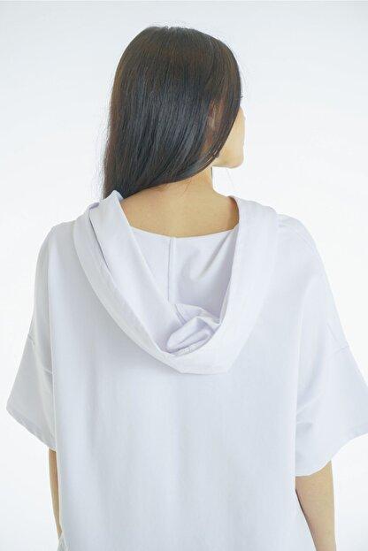 VorNişantaşı Kadın Beyaz Tasarım Kapşonlu Elbise
