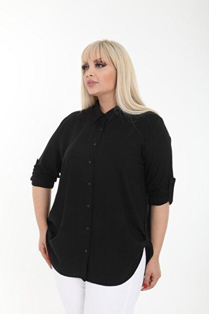 Şirin Butik Kadın Siyah Büyük Beden Gömlek
