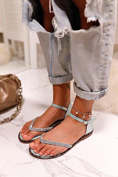 Limoya Kadın Su Yeşili Gümüş Taşlı Parmak Arası Sandalet