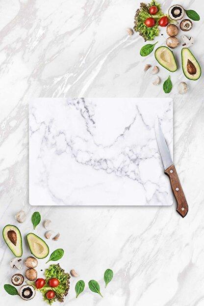 Decovetro Beyaz Mermer Görünümlü | Cam Kesme Tahtası - Kesim Tablası | 30cm X 40cm