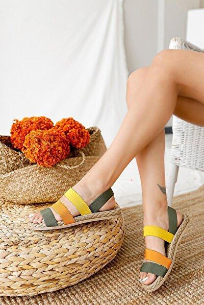 Limoya Kadın Yeşil Limon Portakal Lastik Sandalet