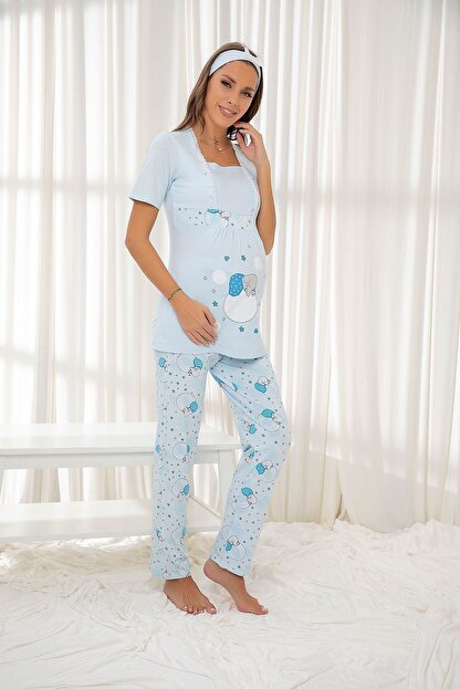 Siyah İnci Mavi Hamile Pamuklu Düğmeli Pijama Takım Bandana Hediyeli