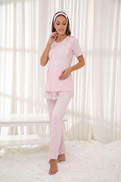 Siyah İnci Pembe Dantelli Düğmeli Modal Hamile Pijama Takım Bandana Hediyeli