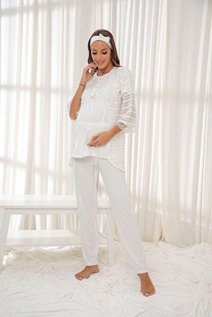Siyah İnci Ekru 3'lü Sabahlıklı Dantelli Düğmeli Modal Hamile Pijama Takım Bandana Hediyeli