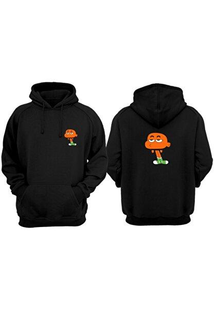VectorWear Kadın Siyah Gumball Hoodie Baskılı Sweatshirt