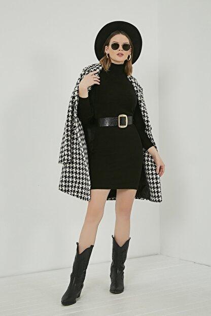 Sateen Kadın Siyah Balıkçı Yaka Balon Kol Elbise  STN723KEL172